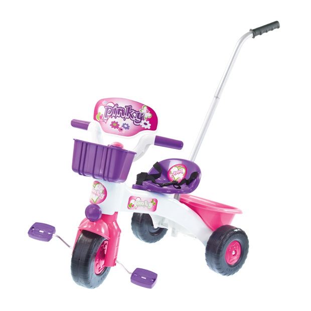 PLASTIC TRICYCLE WITH HANDLE AND FREEWHEEL