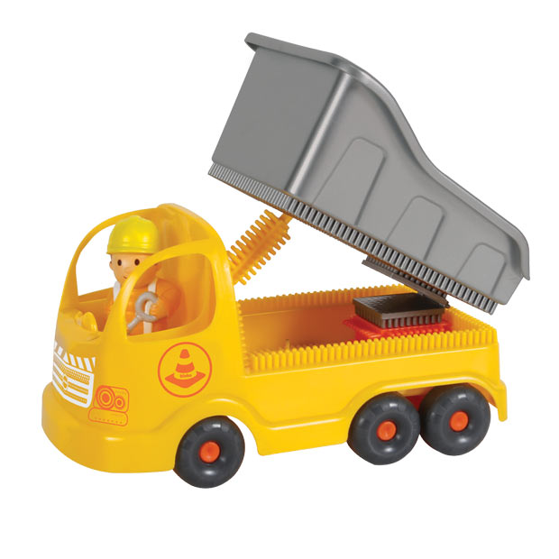 Truck with Pin Bricks in a cardboard box with a 3D figure