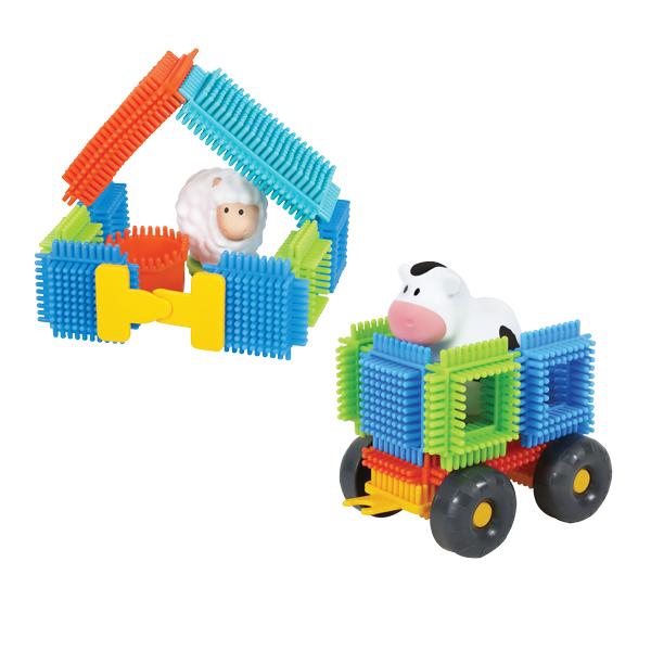 Blocks Pin Bricks 50 pcs with 3 3D Figures in the Farm Carton